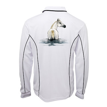 White with dark navy piping ladies pipping polo top beautiful white horse in water image back view