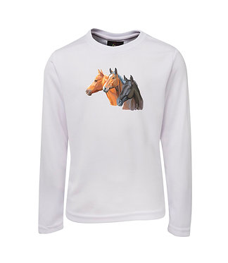 Horse long sleeve t-shirt three horses moisture wicking fabric front view