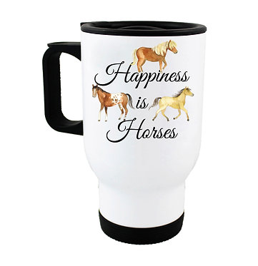 Travel mug with happiness is horses image front view