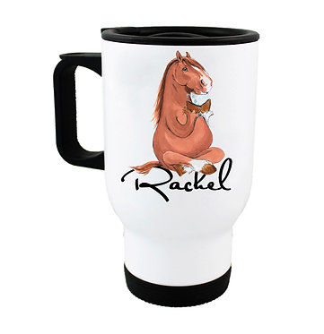Personalised travel mug stainless steel horse sitting cross-legged image front view