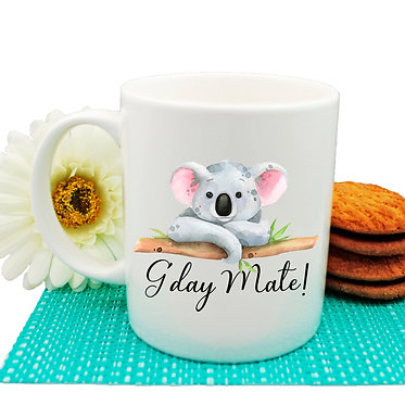 "Ceramic coffee mug Australian Koala and quote ""G'day Mate"" image front view"
