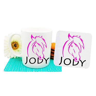 Personalised coffee mug and coaster set horse hot pink image front view