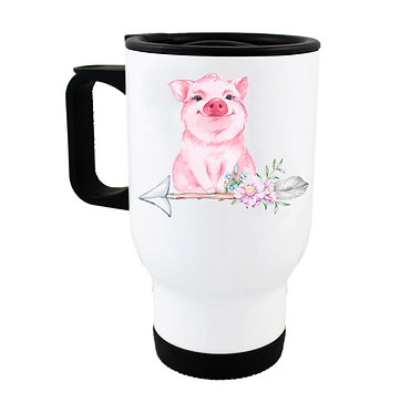 Travel mug with cute pig sitting on arrow with flowers front view