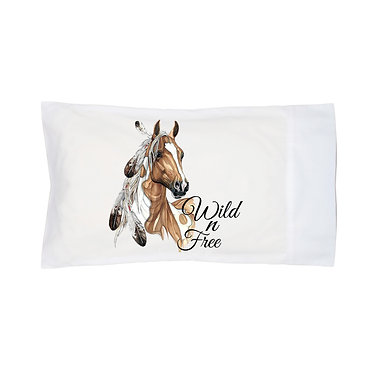 Pillowcase white with paint horse wild n free image front right view