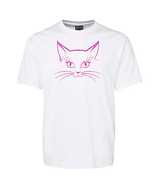 Adults t-shirt white with hot pink cat face image front view
