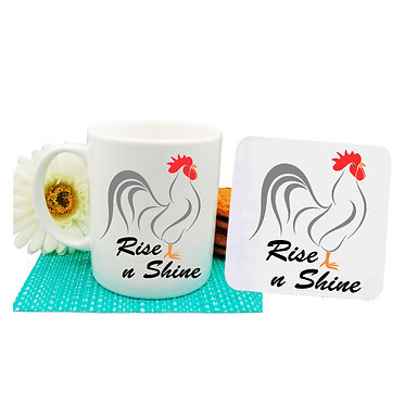 Ceramic mug and drink coaster set with rooster image and rise n shine text front view