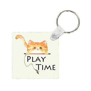 Square keyring cute ginger cat play time image front view