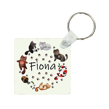 Personalized square keyring circle of cute cats with name image front view