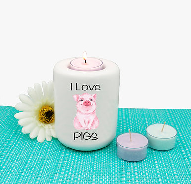 Ceramic tealight candle holder i love pigs image front view