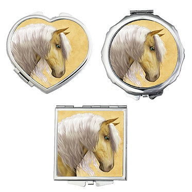 Compact mirrors in 3 shapes heart, round and square palomino horse image front view