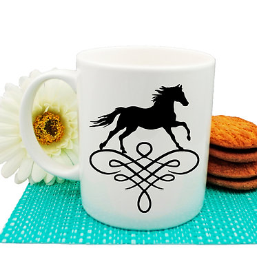 Ceramic coffee mug horse on scroll image in black and white front view