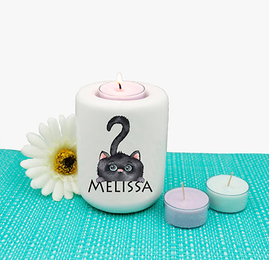 Personalized ceramic tealight candle holder cute black cat image front view