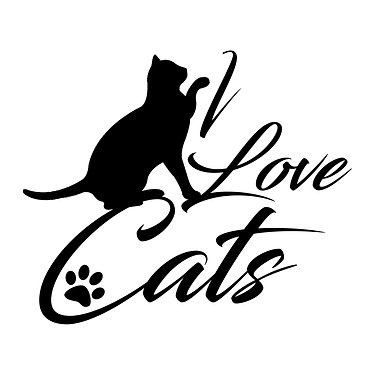 Cat vinyl decal sticker i love cats in black front view