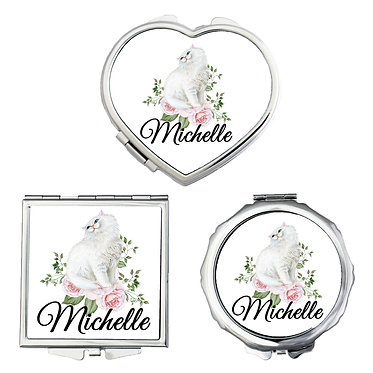 Compact mirrors three shapes round, square, heart personalized with name and white cat with flowers image front view