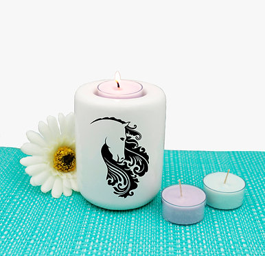 Horse ceramic tealight candle holder black image front view