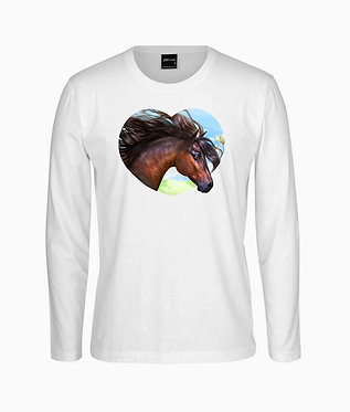 Adults long sleeve t-shirt white with a bay horse in heart image front view