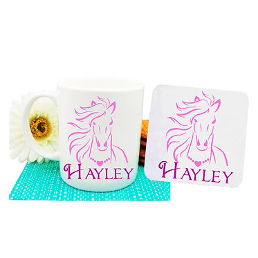 Personalised coffee mug and coaster set horse with flowing mane hot pink image front view