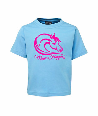 Light blue with hot pink image kids cotton t-shirt magic happens horse image front view