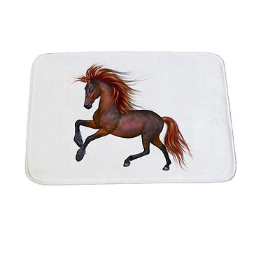 Non-slip bath mat white chestnut horse with flowing main image front view