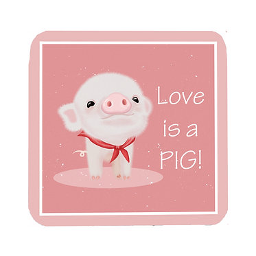 Neoprene drink coaster with cute pig image and text i love pigs! front view