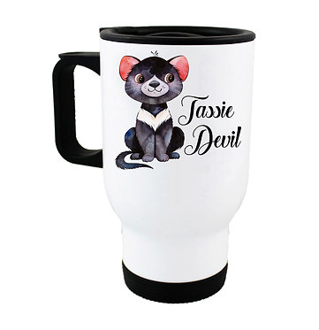 Travel mug with Australian Tasmanian Devil image front view