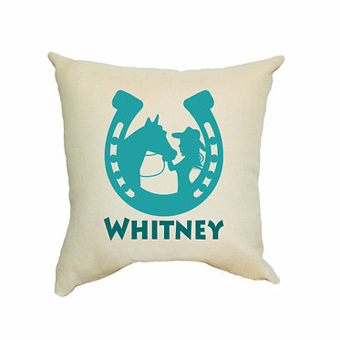 Tan personalised cushion with zip horse and girl green image front view