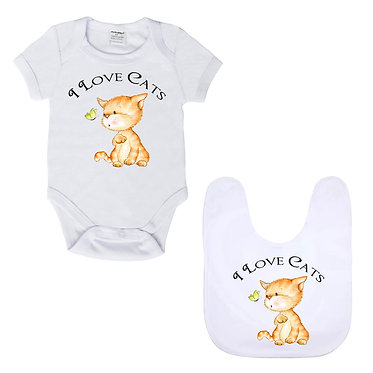 Baby romper play suit white with white trim I love cats image front view