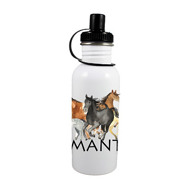 Personalised stainless steel water bottle group of horses image front view