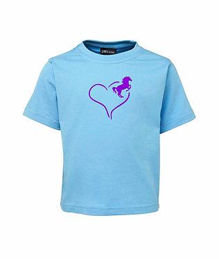 Light Blue kids cotton t-shirt heart horse purple image front view