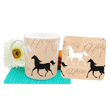 Ceramic coffee mug & coaster set running horse pattern front view