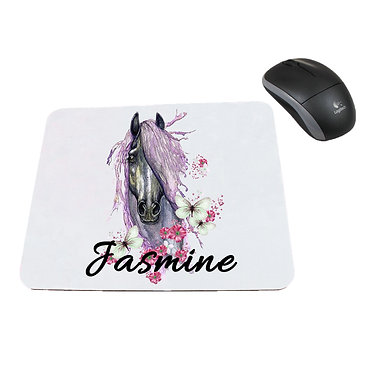 Neoprene computer mouse pad personalised purple horse image front view