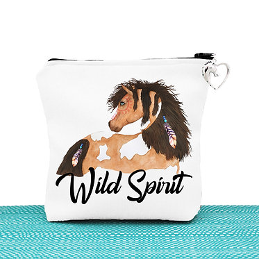 White cosmetic toiletry bag with zipper wild spirit paint horse image front view