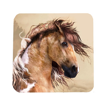 Paint horse square neoprene drink coaster front view