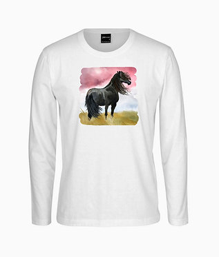 Adults long sleeve t-shirt white with a black horse standing in field image front view