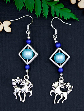 Blue Horse Earrings Front View