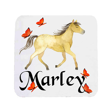Neoprene drink coaster personalized with text pony with butterflies front view