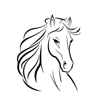 Horse with flowing main decal sticker front view