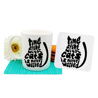"Ceramic coffee mug and drink coaster set black cat with ""Time spent with cats is never wasted"" image front view"