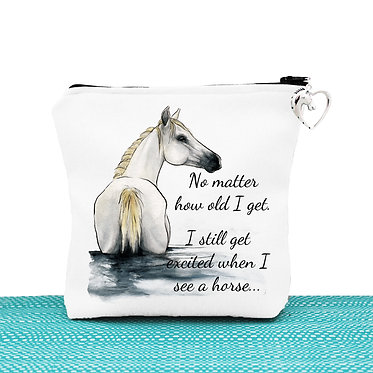 White cosmetic toiletry bag with zipper white horse in water with quote image front view