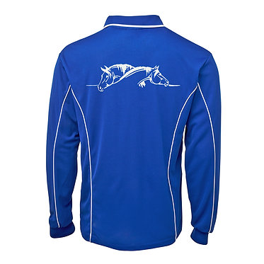 Adults long sleeve polo shirt royal blue white two horses grooming image back view