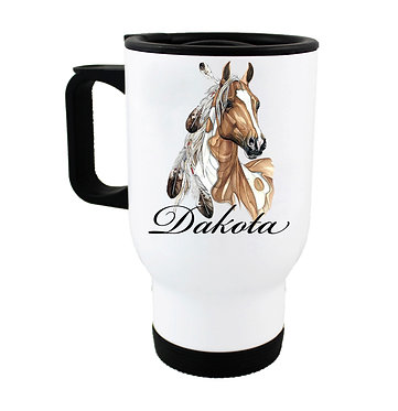 Personalised travel mug stainless steel paint horse with feathers image front view