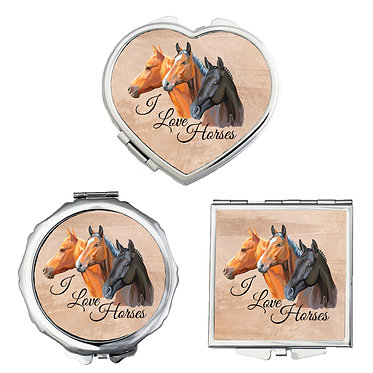 Compact mirrors in 3 shapes heart, round and square I love horses image front view