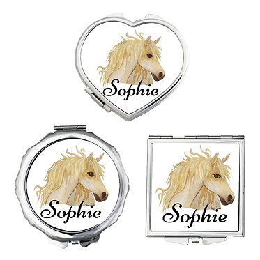 Set of three compact mirrors personalised watercolour horse image front view