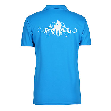 Ladies cool polo shirt aqua white horse and scrolls image back view