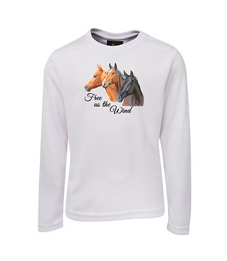 HORSE LONG SLEEVE T-SHIRT FREE AS THE WIND