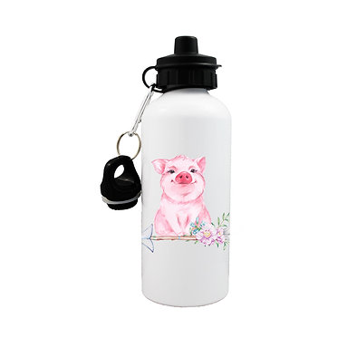 Sports water bottle with cute pig sitting on arrow with flowers front view lid on