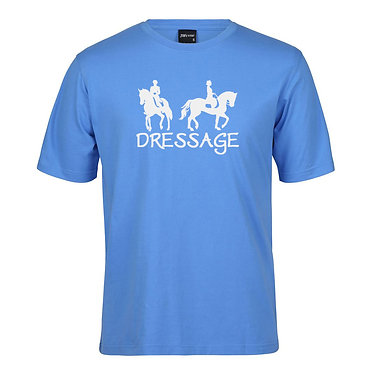 Adults t-shirt light blue with dressage riders image front view