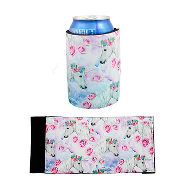 Stubby cooler white unicorn pattern front and side view