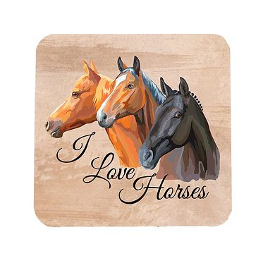 I love horses square neoprene drink coaster front view