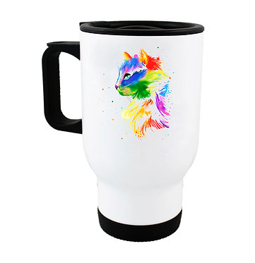 Travel mug bright watercolour cat image front view
